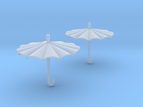 Umbrella Earrings in Smooth Fine Detail Plastic