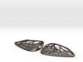 Metal Butterfly Earrings (L) in Polished Bronzed Silver Steel
