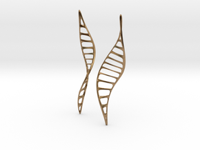 DNA Leaf Earrings in Natural Brass