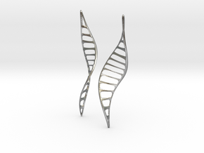 DNA Leaf Earrings in Natural Silver