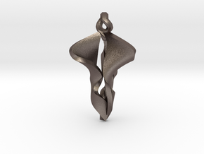 Pendant, Stylized 2 in Polished Bronzed Silver Steel