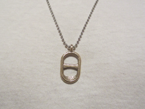 Tab Pendant in Polished Bronzed Silver Steel