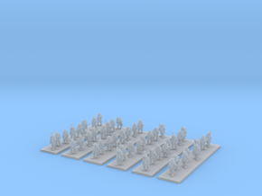 1/220 WW1 French infantry marching x48 in Smooth Fine Detail Plastic