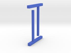 Ear stud 1x1x10mm rectangle eccentric in Blue Processed Versatile Plastic