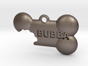 BubbaTag, Dog Bone Bite, Large in Polished Bronzed Silver Steel