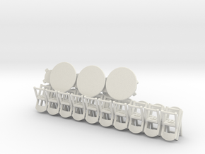 20 Folding Chairs and 6 Round Tables in White Natural Versatile Plastic