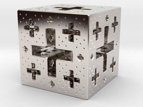 Jerusalem Cube Fractal Pendant in Platinum