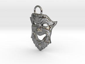 Laughing Greek Mask Pendant 1.5inches in Polished Silver