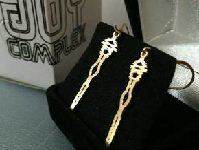 """I Love You"" Sound Wave Earrings in Natural Bronze"