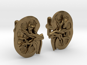 Anatomical Kidney Cufflinks in Polished Bronze