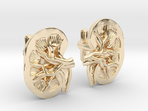Anatomical Kidney Cufflinks in 14K Yellow Gold