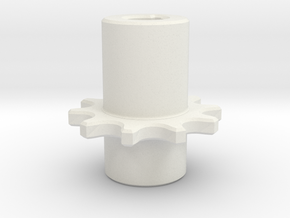 Chain Pinion P=8 Z=10 Ør=5 ISO-R 606 - DIN 8187 in White Natural Versatile Plastic