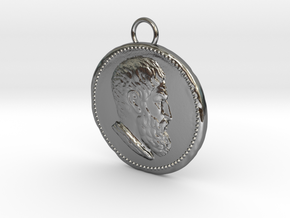 Epicurus Pendant 1.5 inches in Polished Silver