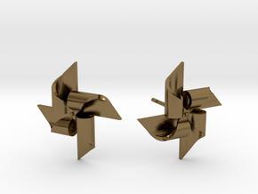 Pinwheel Earring Large size in Polished Bronze