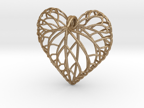 Viola leaf heart in Matte Gold Steel