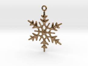 Little Romantic Snowflake Pendant in Natural Brass