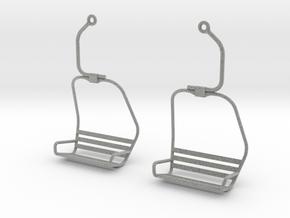 Ski Lift Chair Ear Rings in Metallic Plastic
