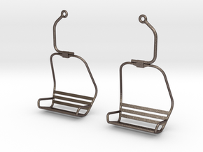 Ski Lift Chair Ear Rings in Polished Bronzed Silver Steel