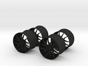 18x12 BBS Wheel Set #1  1/25 Scale in Black Acrylic