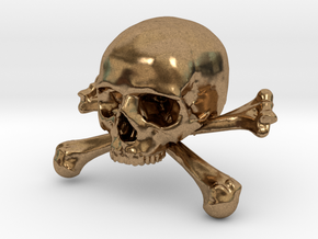 58mm 2.28in Skull & Bones Skull Crane Schädel in Natural Brass