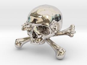 58mm 2.28in Skull & Bones Skull Crane Schädel in Platinum