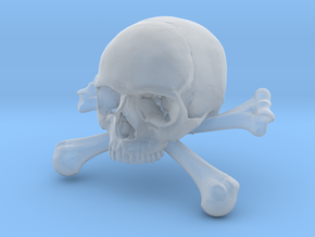 58mm 2.28in Skull & Bones Skull Crane Schädel in Smooth Fine Detail Plastic