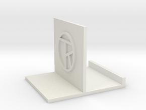 zz - Stand, Medium White with artist's initials in White Natural Versatile Plastic