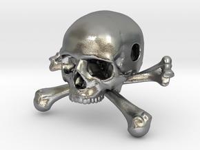 35mm 1.4in Bead Skull & Bones Pendant Crane in Natural Silver