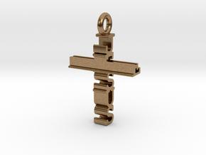 Jesus Cross Pendant in Natural Brass