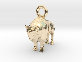 Bison Pendant in 14K Yellow Gold