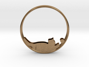 Cat Playing Ball Hoop Earrings 40mm in Natural Brass