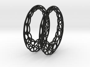 Round Wire Hoop Earrings 50mm in Black Natural Versatile Plastic