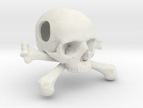 25mm 1in Bead Skull & Bones Pendant Crane in White Natural Versatile Plastic