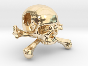 25mm 1in Bead Skull & Bones Pendant Crane in 14K Yellow Gold