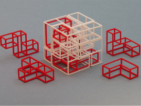 """SOMA's Revenge"" - Interlocking Puzzle Cube in White Natural Versatile Plastic"