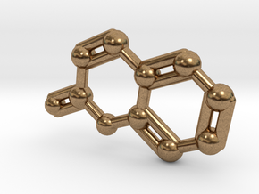 Coumarin Molecule Keychain Pendant in Natural Brass