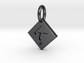 SCRABBLE TILE PENDANT  K  in Polished Grey Steel