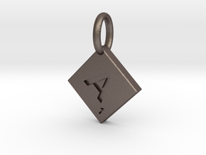 SCRABBLE TILE PENDANT  A  in Polished Bronzed Silver Steel