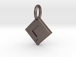 SCRABBLE TILE PENDANT L in Polished Bronzed Silver Steel