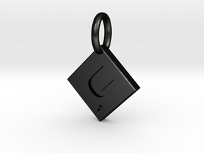 SCRABBLE TILE PENDANT  U  in Matte Black Steel