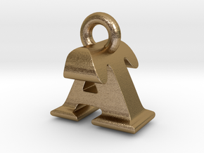 3D Monogram Pendant - ATF1 in Polished Gold Steel