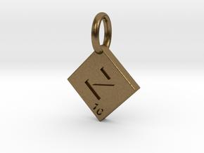 SCRABBLE TILE PENDANT  Z  in Raw Bronze