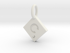 SCRABBLE TILE PENDANT C in White Natural Versatile Plastic