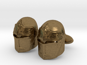 Medieval Helmet Cufflinks in Natural Bronze