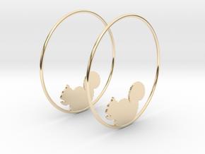 Squirrel Hoop Earrings 50mm in 14K Yellow Gold