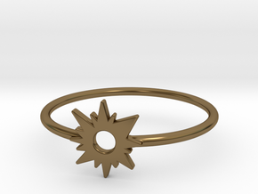 Sun Midi Ring 16mm inner diameter by CURIO in Polished Bronze