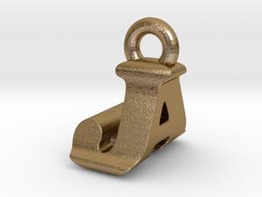 3D Monogram Pendant - JAF1 in Polished Gold Steel
