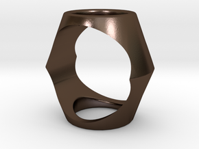 Ring17(17mm) in Polished Bronze Steel