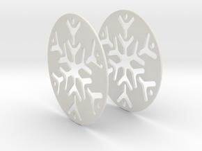 Snowflake 3 Hoop Earrings 50mm in White Strong & Flexible
