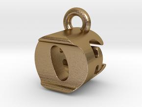 3D Monogram Pendant - OEF1 in Polished Gold Steel